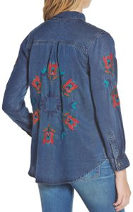 Rails Denim Chambray Embellished Western Embroidered Button Down Shirt Blue