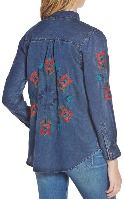 Item - Blue Ingrid Denim Chambray Jalisco Embroidery Southwest Button-down Top Size 2 (XS)