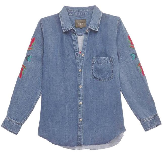Rails Denim Chambray Embellished Western Embroidered Button Down Shirt Blue Image 2