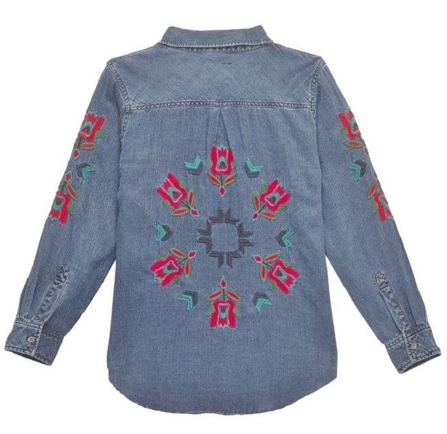 Rails Denim Chambray Embellished Western Embroidered Button Down Shirt Blue Image 3