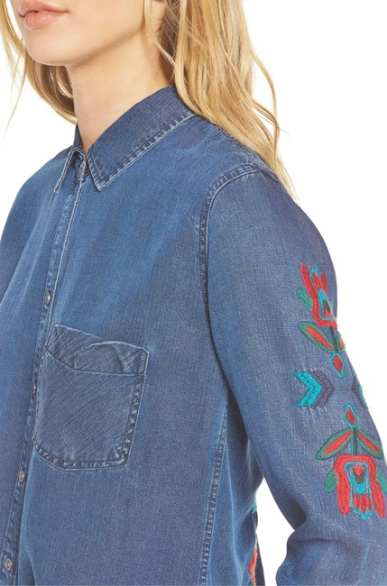 Rails Denim Chambray Embellished Western Embroidered Button Down Shirt Blue Image 4