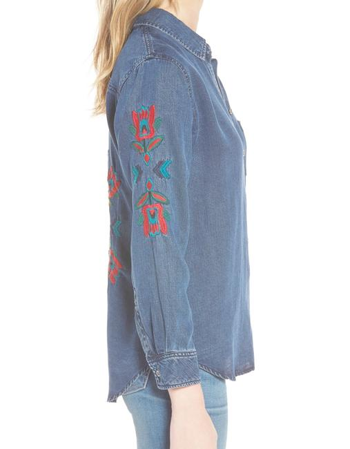 Rails Denim Chambray Embellished Western Embroidered Button Down Shirt Blue Image 5
