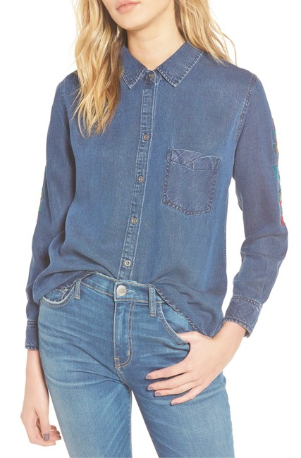 Rails Denim Chambray Embellished Western Embroidered Button Down Shirt Blue Image 6