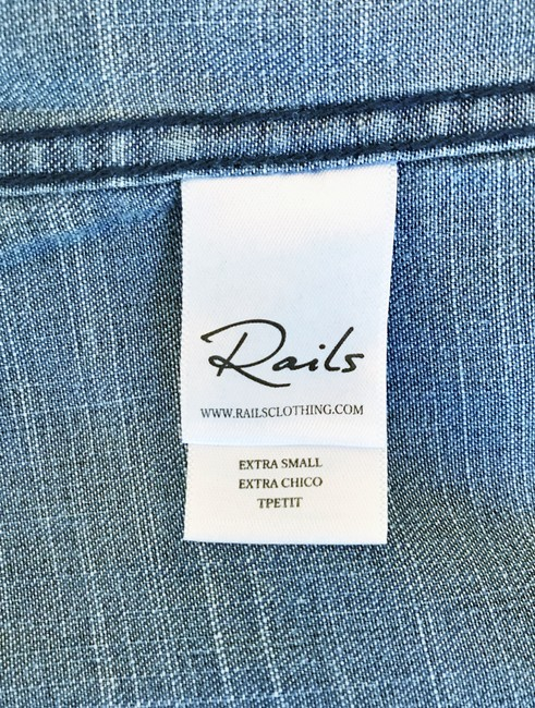 Rails Denim Chambray Embellished Western Embroidered Button Down Shirt Blue Image 8