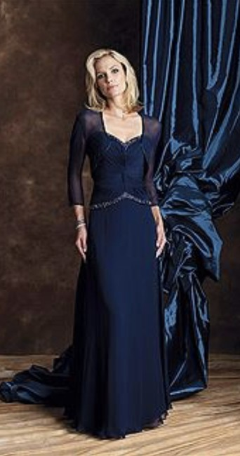 Item - Navy Blue Chiffon 19923 Formal Bridesmaid/Mob Dress Size 20 (Plus 1x)