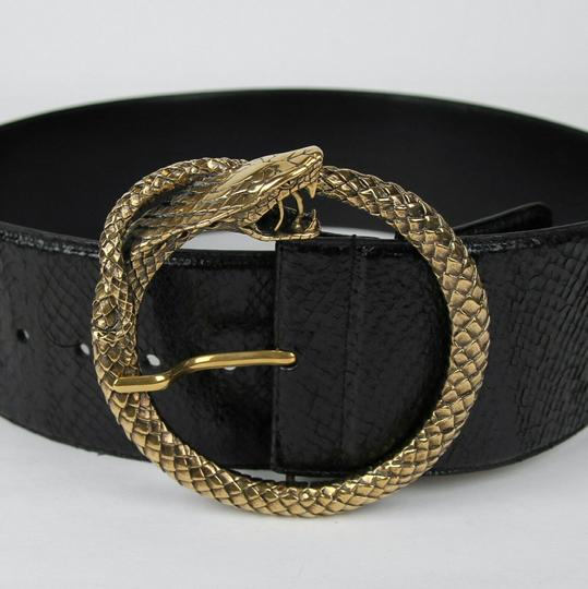 Saint Laurent Black Salmon Skin Belt w/snake Circle Buckle 80/32 438544 1000 Image 1