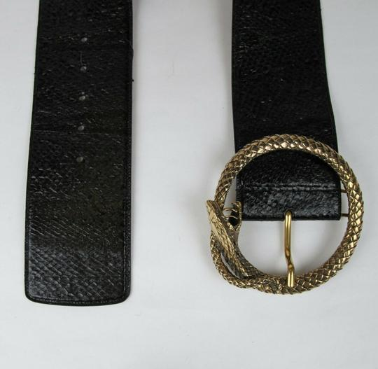 Saint Laurent Black Salmon Skin Belt w/snake Circle Buckle 80/32 438544 1000 Image 3