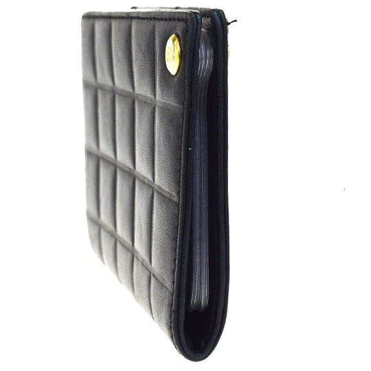 Chanel Authentic CHANEL CC Choco Bar Card Case Wallet Purse Leather Black Ita Image 1