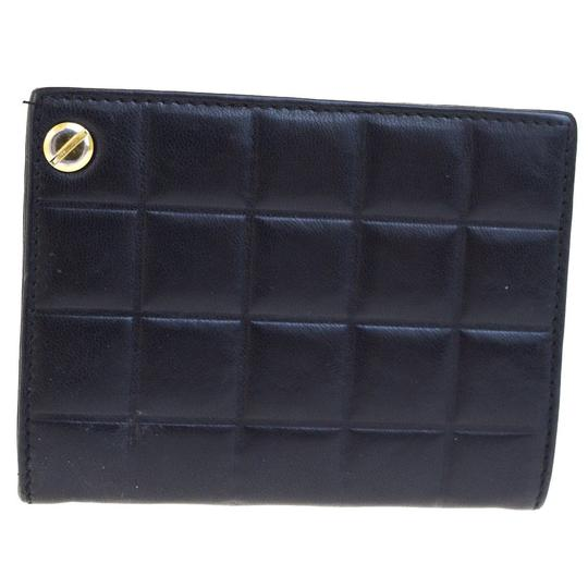 Chanel Authentic CHANEL CC Choco Bar Card Case Wallet Purse Leather Black Ita Image 3