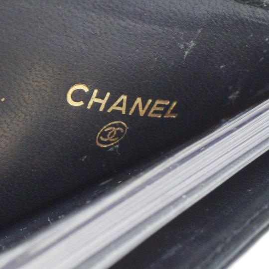 Chanel Authentic CHANEL CC Choco Bar Card Case Wallet Purse Leather Black Ita Image 7