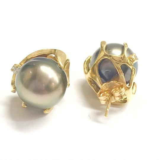 DeWitt's ESTATE COLLECTION!! 14 Karat Yellow Gold, Black Pearl And Diamond Earrings Image 1