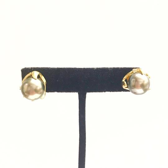 DeWitt's ESTATE COLLECTION!! 14 Karat Yellow Gold, Black Pearl And Diamond Earrings Image 2