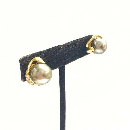 DeWitt's ESTATE COLLECTION!! 14 Karat Yellow Gold, Black Pearl And Diamond Earrings Image 3