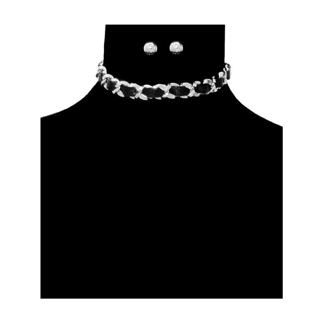 Unbranded Black/Silver Leather Chain Necklace Unbranded Black/Silver Leather Chain Necklace Image 1