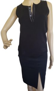 Chanel Interlocking Cc Logo Monogram Embroidered Sleeveless Top Black