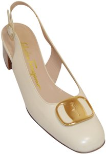 Salvatore Ferragamo Slingback Stacked Heel Italian Made Leather Cream Pumps