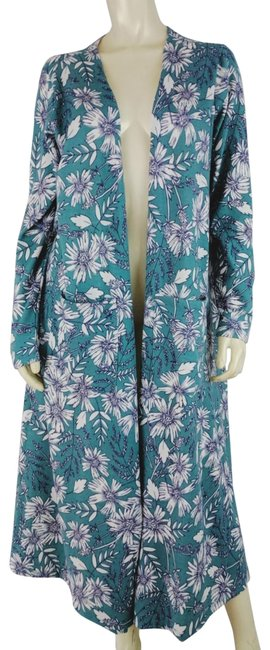 Item - L Duster Open Front Floral Stretch Knit Polyrayonspa Green White Sweater