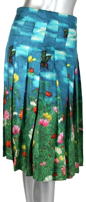 Gucci Blue/Green W Blue/Green Flare Pleated Silk W/Flower Print Eu 40 419422 4002 Skirt Size 4 (S, 27) Gucci Blue/Green W Blue/Green Flare Pleated Silk W/Flower Print Eu 40 419422 4002 Skirt Size 4 (S, 27) Image 1