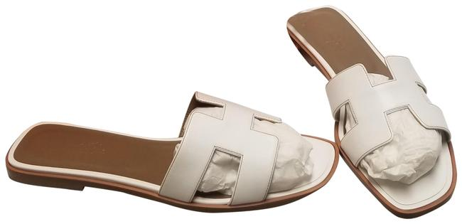 Item - White Oran with Brown Stitching Sandals Size US 9.5 Narrow (Aa, N)