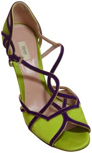 Prada Strappy Cork Lime/Purple Wedges
