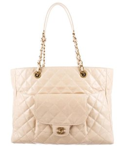 Chanel Gst Grand Shopping Glazed Calfskin Pocket Classic Flap Tote in Ivory Cream White Beige Gold