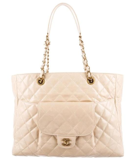 Chanel Glazed Quilted Large Front Pocket Flap Classic Grand Shopping Ivory Cream White Beige Gold Calfskin Leather Tote Chanel Glazed Quilted Large Front Pocket Flap Classic Grand Shopping Ivory Cream White Beige Gold Calfskin Leather Tote Image 1
