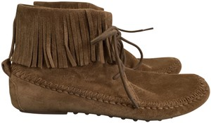 Tory Burch Suede Fringed Moccasin Brown Boots