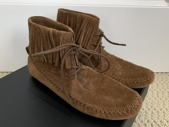 Tory Burch Suede Fringed Moccasin Brown Boots Image 1