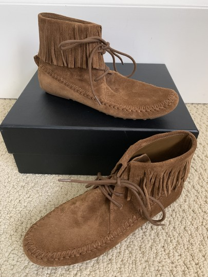 Tory Burch Suede Fringed Moccasin Brown Boots Image 5