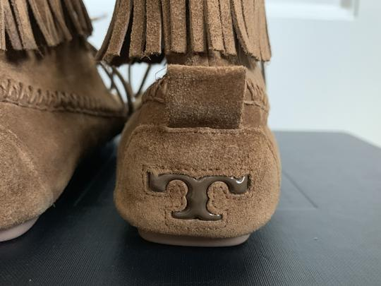 Tory Burch Suede Fringed Moccasin Brown Boots Image 7