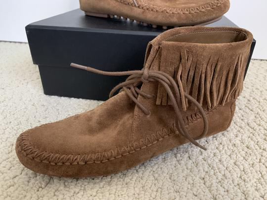 Tory Burch Suede Fringed Moccasin Brown Boots Image 9