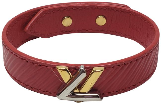 Louis Vuitton Red Leather Lv Logo Charm Bracelet Louis Vuitton Red Leather Lv Logo Charm Bracelet Image 1