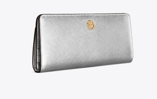 Tory Burch NEW Tory Burch Robinson Saffiano Leather Metallic Slim Bifold wallet Image 3