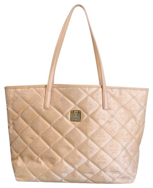 MCM Bag Quilted Shopper Peach Canvas Leather Tote MCM Bag Quilted Shopper Peach Canvas Leather Tote Image 1