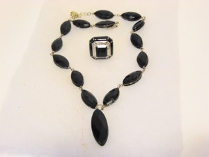 Colleen Lopez Black Onyx Necklace and Black Emerald-Cut Agate Ring Set 7