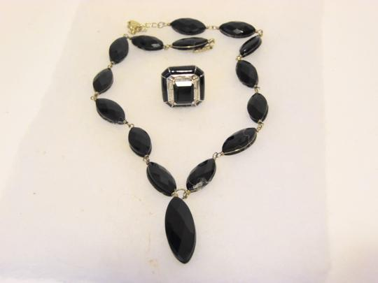 Preload https://img-static.tradesy.com/item/25947510/colleen-lopez-925-black-onyx-and-black-emerald-cut-agate-ring-set-7-necklace-0-0-540-540.jpg