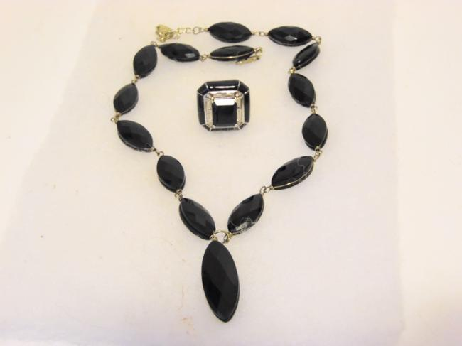 Colleen Lopez .925 Black Onyx and Black Emerald-cut Agate Ring Set 7 Necklace Colleen Lopez .925 Black Onyx and Black Emerald-cut Agate Ring Set 7 Necklace Image 1