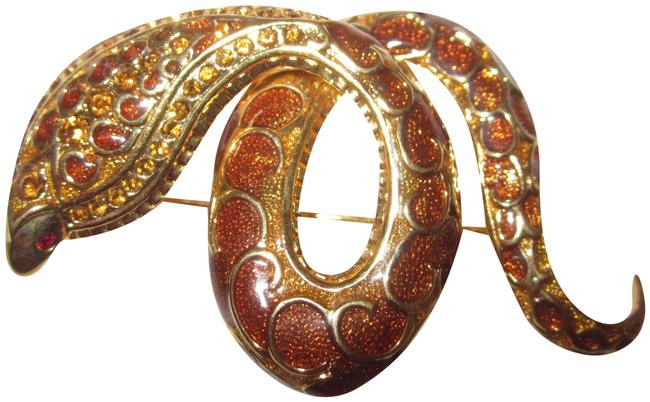Item - Brown Enameled Estate Snake Pin From Joan's Personal Jewel Collection