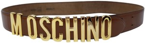 Moschino Brown leather Moschino gold-tone logo lettering hip belt