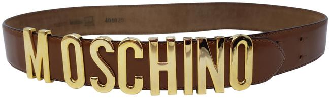 Moschino Gold Brown Leather Gold-tone Logo Lettering Hip Belt Moschino Gold Brown Leather Gold-tone Logo Lettering Hip Belt Image 1