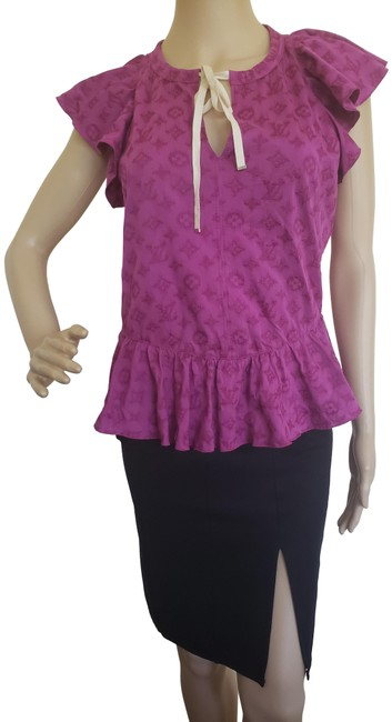 Item - Purple Violet Lv Monogram Perforated Blouse Size 4 (S)