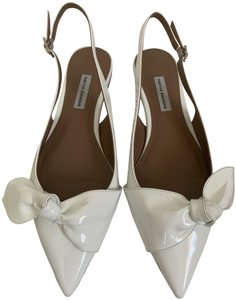 Tabitha Simmons Patent Leather Pointed Toe Slingback White Flats