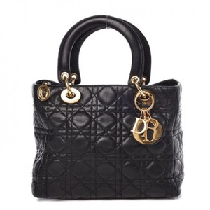 Dior Lambskin Christian Lady Tote in Black