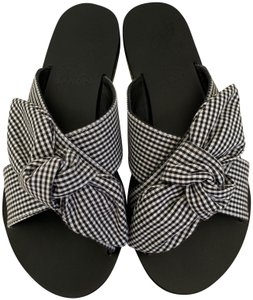 Ancient Greek Sandals Gingham Knot Slide Black Sandals