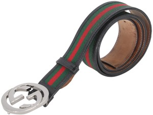 Gucci Leather and Canvas Web Double G Men's Belt Size US 42
