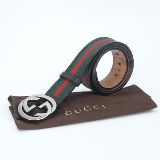 Gucci Leather and Canvas Web Double G Men's Belt Size US 42 Image 1