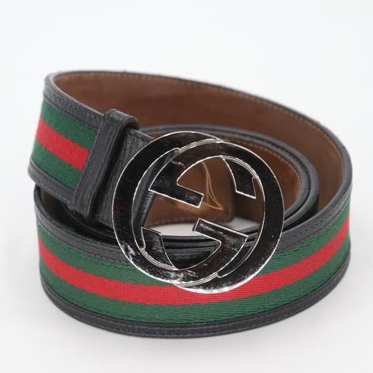 Gucci Leather and Canvas Web Double G Men's Belt Size US 42 Image 2