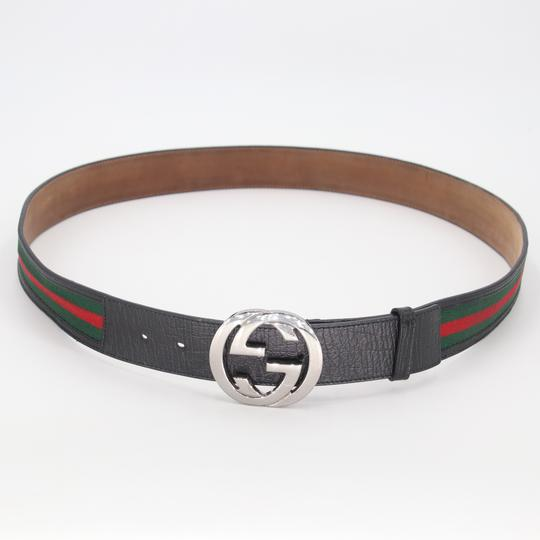 Gucci Leather and Canvas Web Double G Men's Belt Size US 42 Image 3