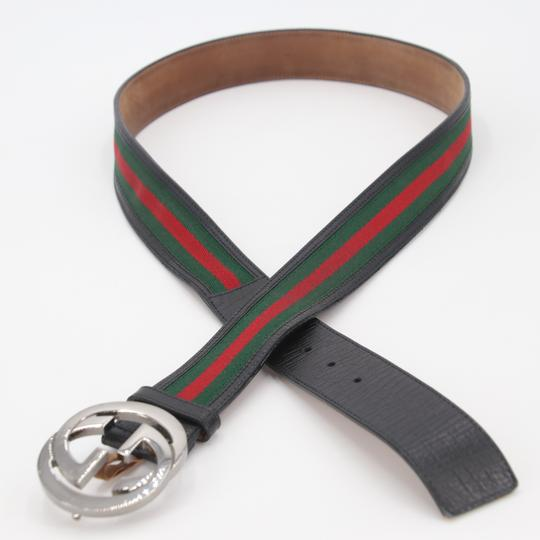 Gucci Leather and Canvas Web Double G Men's Belt Size US 42 Image 4