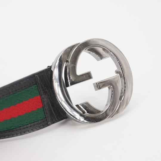 Gucci Leather and Canvas Web Double G Men's Belt Size US 42 Image 5